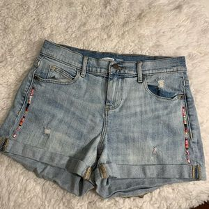 Embroidered Light Wash Jean Shorts